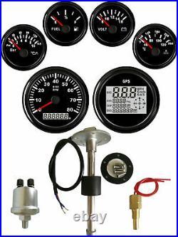 6 Gauge set with Senders, Odo Trip Speedo Tacho Fuel Volt Oil Pressure Temp Black