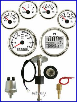 6 Gauge set with Senders, Odo Trip Speedo Tacho Fuel Volt Oil Pressure Temp White