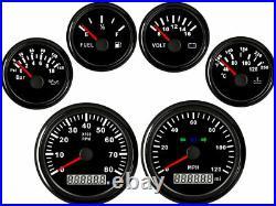 6 Gauge set with Senders Speedo 0-120MPH Tacho Fuel Volt meter Oil pressure Temp