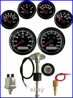 6 Gauge set with Senders Speedo 200KPH Tacho Fuel Volt meter Oil pressure Temp