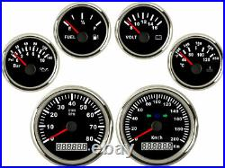 6 Gauge set with Senders Speedo 200KPH, Tacho Fuel Volts Oil Pressure Temp Black