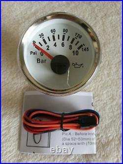 6 Gauge set with sender, 85MM GPS Speedo, Tacho, Fuel, Temp, Volt, Oil Pressure White