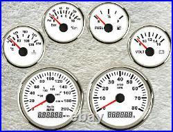 6 Gauge set with senders, 200MPH 300KPH Speedo, Tacho, Fuel, Temp, Volt, Oil Pressure