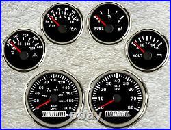 6 Gauge set with senders, Speedo KPH MPH Odo, Tacho, Fuel, Temp, Volts, Oil Pressure