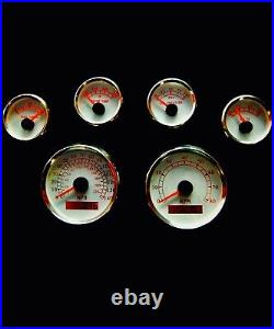 6 Gauge set with senders, Speedo, Tacho, Oil, Temp, Fuel, Volt, WithWithR