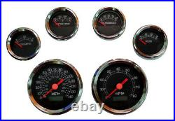 6 Gauge set with senders, Speedo, Tacho, Oil, Temp, Fuel, Volt, black/chrome, 043BC-S
