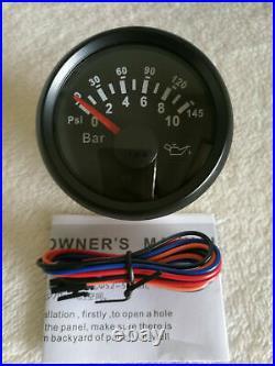 6 Gauge set with senders speedo 0-200kph tacho fuel temp volt oil pressure black