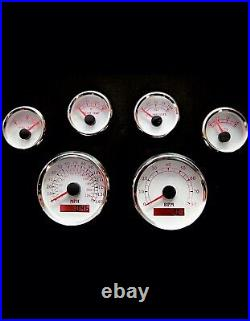 6 Gauge set witho senders, Speedo, Tacho, Oil, Temp, Fuel, Volt, WithWithR