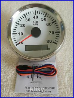 6 Gauge sets, 85MM GPS Speedo Odo Trip, Tacho, Fuel, Temp, Volts, Oil Pressure White