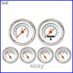 6 Instrument Gauge Set SAE American Classic White Needle Chrome Trim Speedo Tach