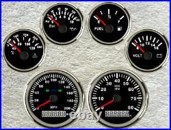 6 gauge set GPS 200mph speedo with light tacho fuel temp volt oil pressure black