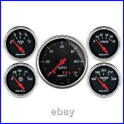 AutoMeter 1450 Designer Black 5 Gauge Set Fuel/Oil/Speedo/Volt/Water