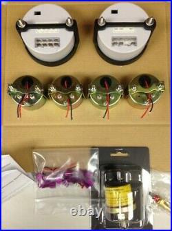 C2 6 Gauge Set, Black Dials, Stainless Step Bezels, Electric Speedo 2064STP