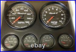 C2 Gauge Set, 5 inch Speedo/Tach, Black Dials, Black Bezels, 73-10 Ohm Fuel Lvl