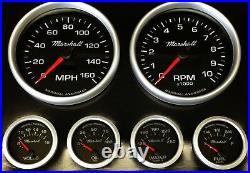 C2 Gauge Set, 5 inch Speedo/Tach, Black Dials Silver Bezels, 240-33 Ohm Fuel Lvl