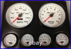 C2 Gauge Set, 5 inch Speedo/Tach, White Dials, Black Bezels, 0-90 Ohm Fuel Lvl