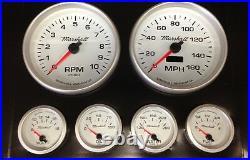 C2 Gauge Set, 5 inch Speedo/Tach, White Dials, Silver Bezels, 73-10 Ohm Fuel Lvl