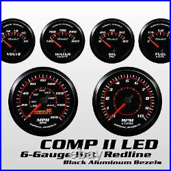 C2 Redline 6 Gauge Set, Black Bezels, 0-90 Ohm Fuel Level, Electric Speedo