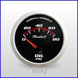 C2 Redline 6 Gauge Set, Silver Bezels, 0-90 Ohm Fuel Level, Electric Speedo