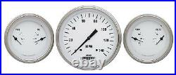 Classic WH64SLC White Hot 3 Gauge Set 4-5/8 Speedo & 2 3-3/8 Duals SLC