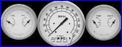 Classic White Series 3 Gauge Set 4-5/8 Speedo 3-3/8 Duals Continental CW64SLF