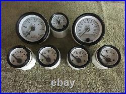 Hoffman AutoLoc 7 Piece White Face Gauge Set Tach Speedo Clock Oil Water Volts