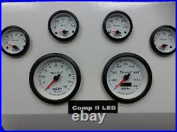 Marshall 6 Gauge Set Comp 2 LED Electric Speedo White Dial Blac Bezel Sport Comp