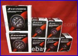 Mercury Analog Gauge Set Blk- Speedo, 6K Tach, trim, temp, volt, fuel, hours