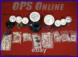 Mercury Analog Gauge Set White 6K Tachometer & Speedo 895283A23 & 895285A23