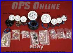 Mercury Outboard Analog Gauge Set Wht- Speedo, 7K Tach, trim, temp, volt, fuel
