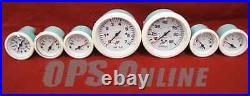 Mercury Outboard Analog Gauge Set Wht- Speedo, 7K Tach, trim, temp, withp, volt, fuel