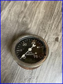Original Stewart Warner 75 PSI Oil Instrument Gauge Panel Dash Hotrod SCTA TROG
