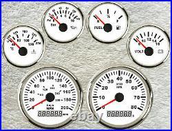 Six gauge set 200mph 300km/h speedo tachometer fuel temp volt oil pressure white