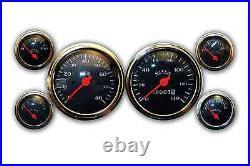 Veethree Gauge Set Classic Black 6 Gauge Instruments Mechanical Speedo CYBCE6715